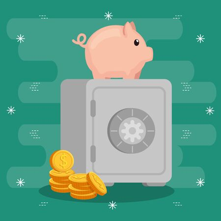 strongbox with piggy bank and coins vector illustration design