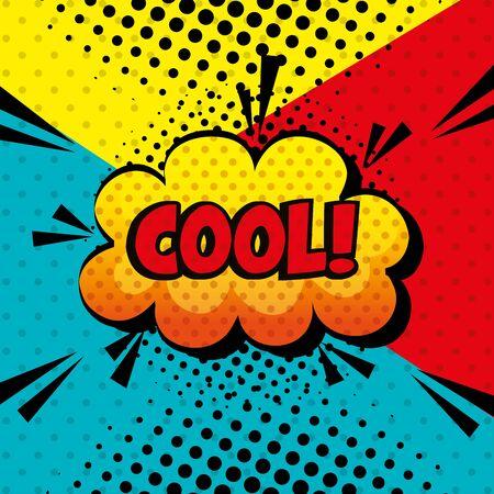 cool expression sign pop art style vector illustration design