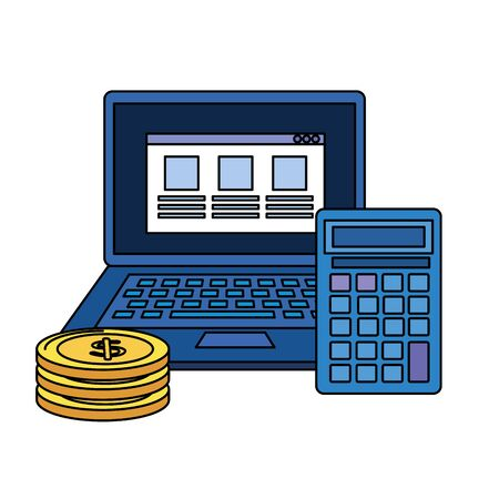 coins money dollars with laptop and calculator vector illustration design