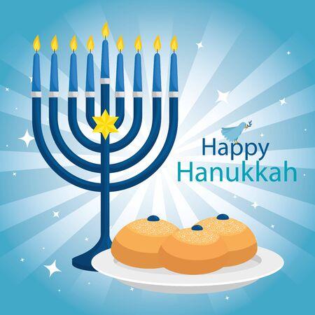 happy hanukkah with chandelier icons vector illustration design