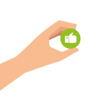 hand and button with like isolated icon vector illustration design