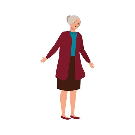 old woman elegant avatar character vector illustration design