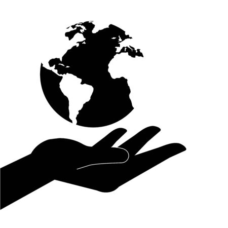 silhouette of hand receiving with planet earth vector illustration design