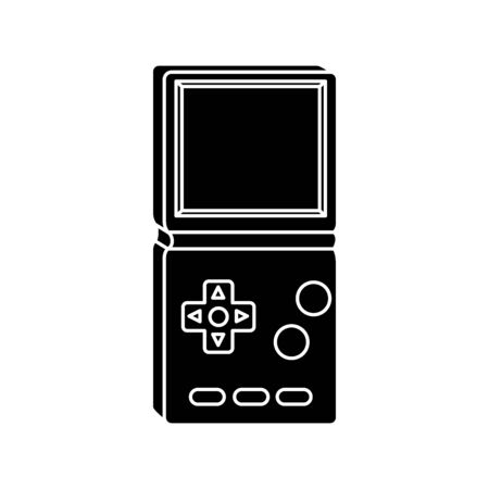 silhouette of video game handle of nineties style vector illustration design  イラスト・ベクター素材