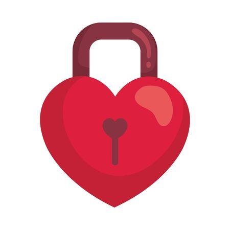 padlock in shape heart isolated icon vector illustration design Illustration
