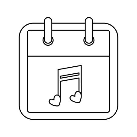 calendar with note music isolated icon vector illustration design 向量圖像