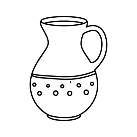 teapot of pottery decorative line style icon vector illustration design