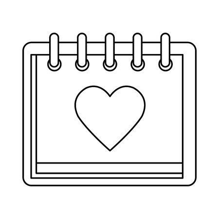 calendar with heart isolated icon vector illustration design