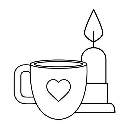 Tasse de café avec bougie vecteur icône isolé illustration design