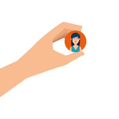 hand and button with face woman isolated icon vector illustration design Ilustração