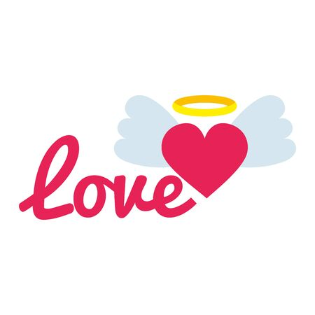 love sign and heart with wings pop art style icon vector illustration design