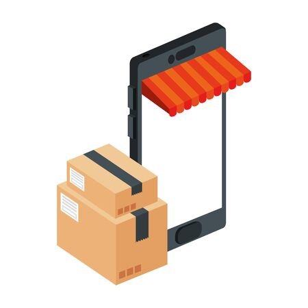 smartphone with parasol store and boxes packages vector illustration design  イラスト・ベクター素材