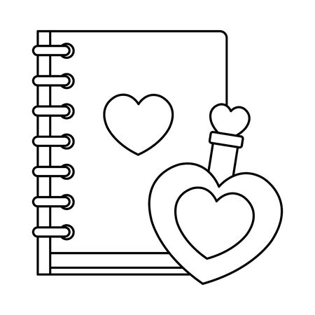fragrance with heart bottle and notebook vector illustration design