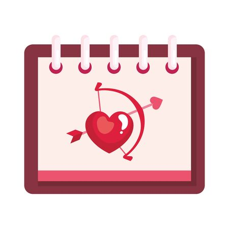 arch cupid with arrow in calendar isolated icon vector illustration design