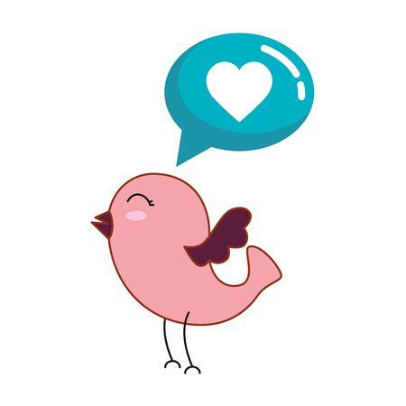 cute bird and speech bubble with heart vector illustration design