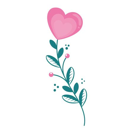 cute flower in shape heart with branch and leafs vector illustration design  イラスト・ベクター素材