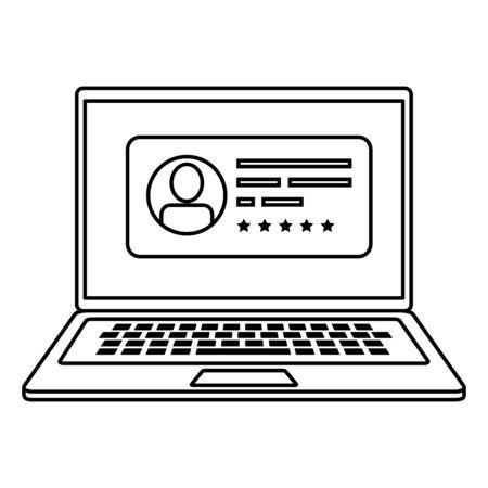 Ordinateur portable pour voter en ligne icône de style de ligne conception d'illustration vectorielle