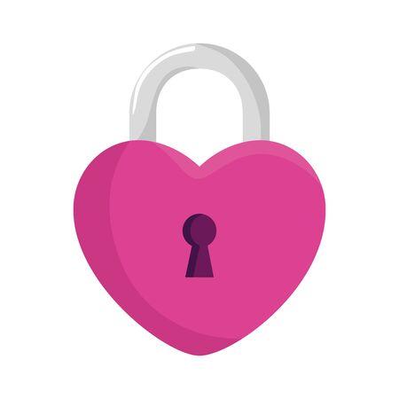 padlock in shape heart isolated icon vector illustration design Çizim