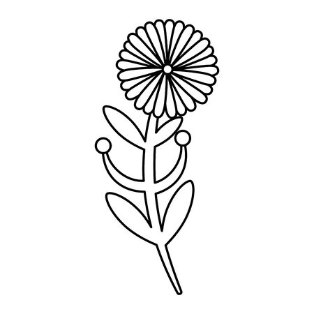 cute flower with branch and leafs isolated icon vector illustration design