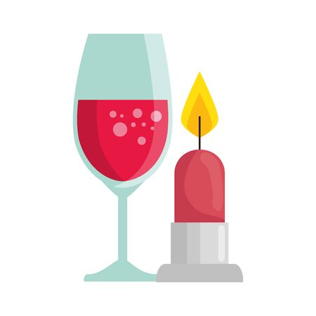 cup glass champagne with candle light isolated icon vector illustration design Stock Illustratie