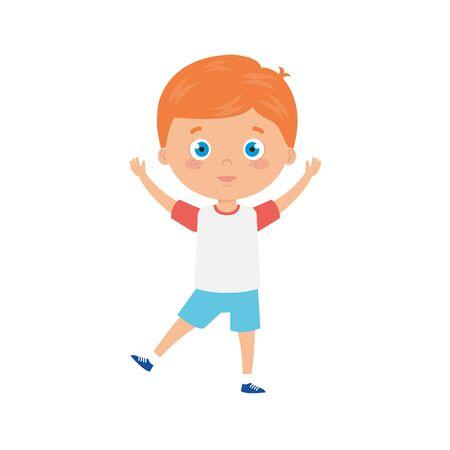 cute little boy with blonde hair avatar character vector illustration design