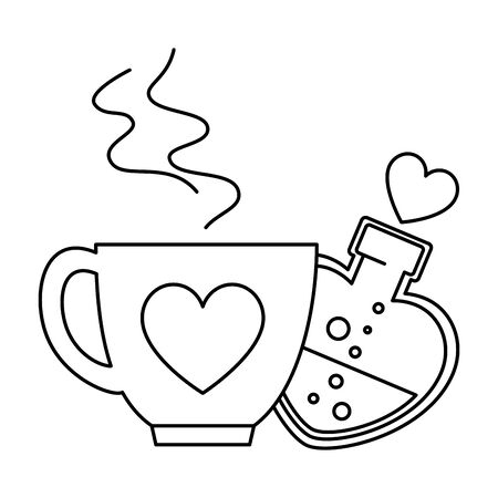 silhouette of bottle with heart shaped and cup coffee vector illustration design