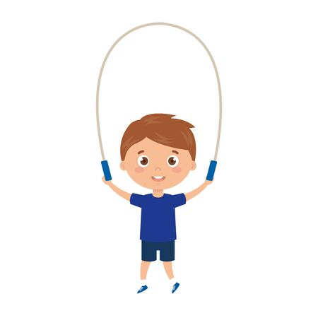 cute little boy with jump rope vector illustration design Stock Illustratie