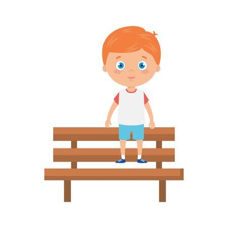 cute little boy in wooden chair avatar character vector illustration design
