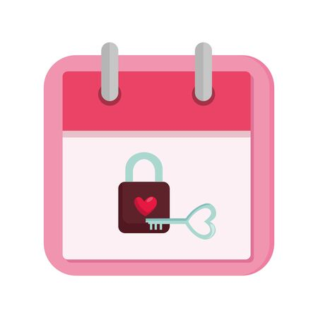 calendar and padlock with heart vector illustration design 向量圖像