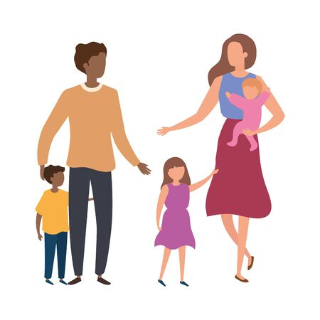 parents with sons avatar characters vector illustration design Stock Illustratie