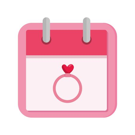 calendar and ring with heart isolated icon vector illustration design 版權商用圖片 - 139595251