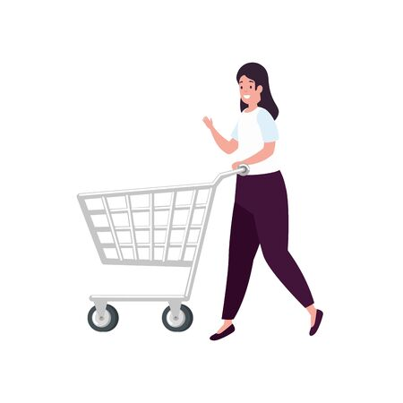 beautiful woman with cart shopping isolated icon vector illustration design Stock Illustratie