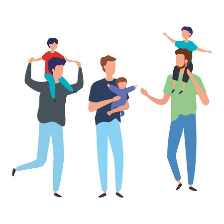 men with sons avatar character vector illustration design