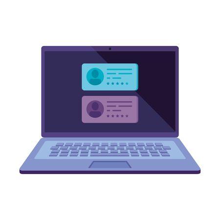 Ordinateur portable pour voter en ligne icône isolé conception d'illustration vectorielle