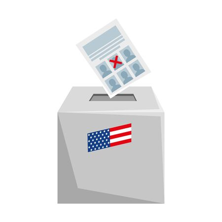 Usa vote paper and box design, United states america independence presidents day nation us country and national theme Vector illustration