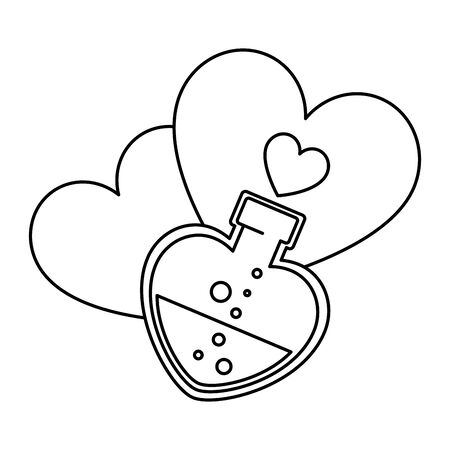 silhouette of bottle with heart shaped and hearts vector illustration design