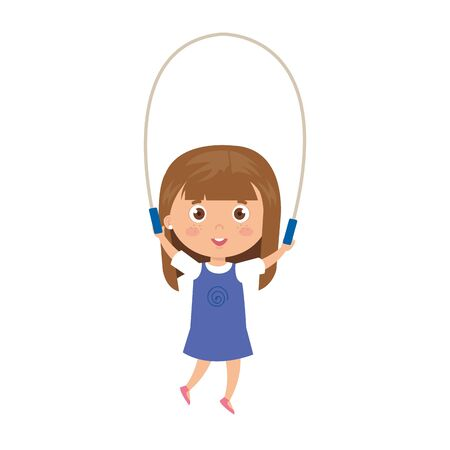 cute little girl with jump rope vector illustration design Ilustrace