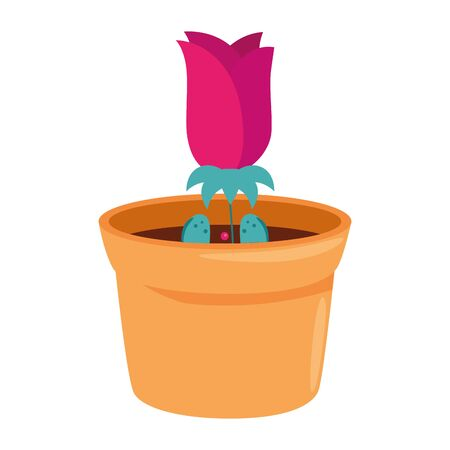 rose flower in pot plant isolated icon vector illustration design