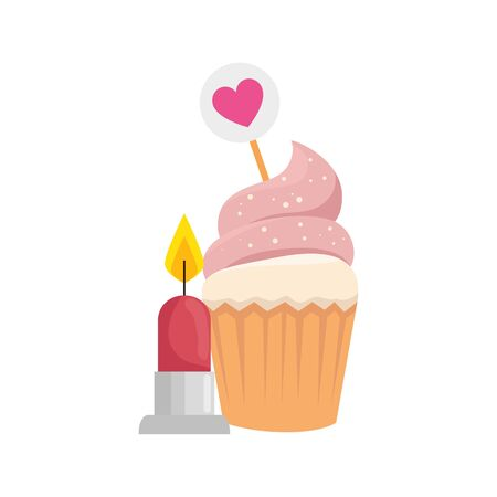 delicious cupcake with candle isolated icon vector illustration design