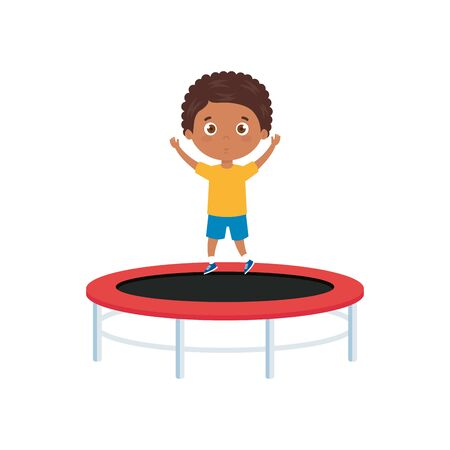 cute little boy afro in trampoline jump game vector illustration design  イラスト・ベクター素材
