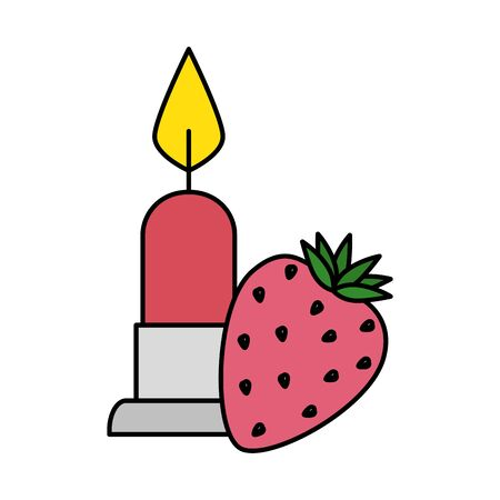 candle light with strawberry isolated icon vector illustration design