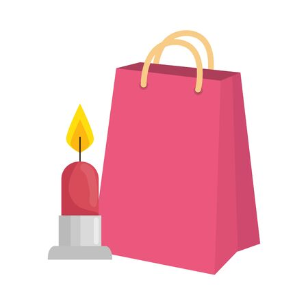 candle light with bag shopping isolated icon vector illustration design