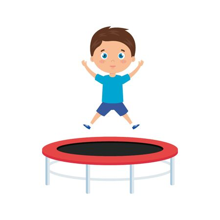 cute little boy in trampoline jump game vector illustration design