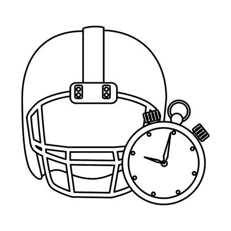 american football helmet with chronometer vector illustration design