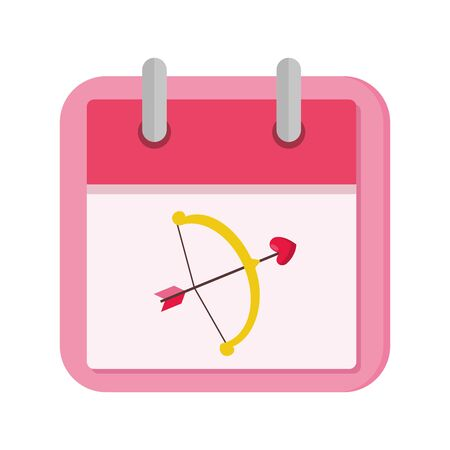 calendar with arch cupid isolated icon vector illustration design 向量圖像