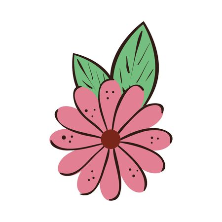 cute flower natural with leaves isolated icon vector illustration design