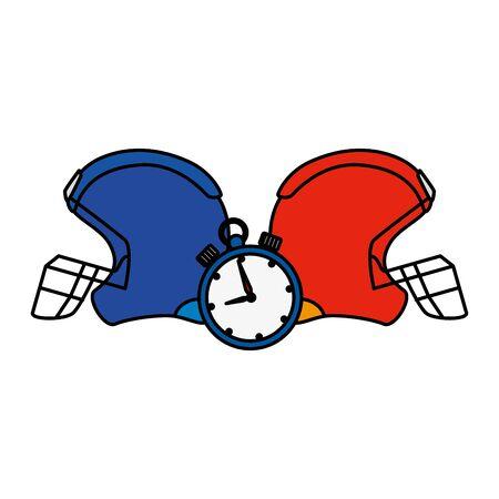 american football helmets with chronometer vector illustration design Ilustración de vector