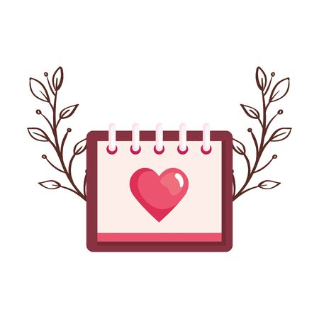 calendar with heart and leaves isolated icon vector illustration design