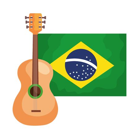 guitar with flag brazil isolated icon vector illustration design