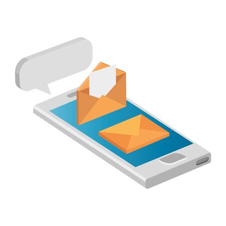 envelopes mail with smartphone isolated icon vector illustration design